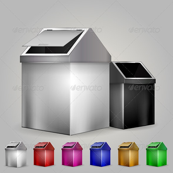 Illustration of Dustbins  - Man-made Objects Objects