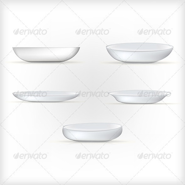 Illustration of White Dishes - Food Objects
