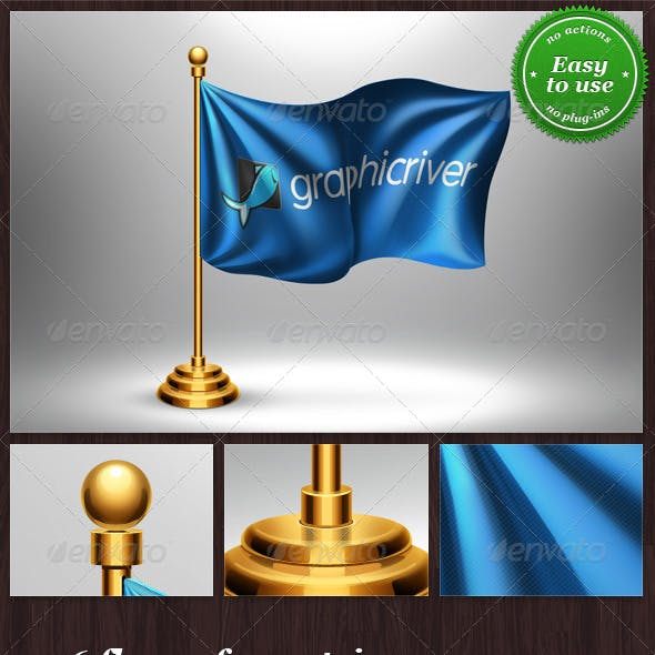 Table Flag with Logo or Country Mock-up