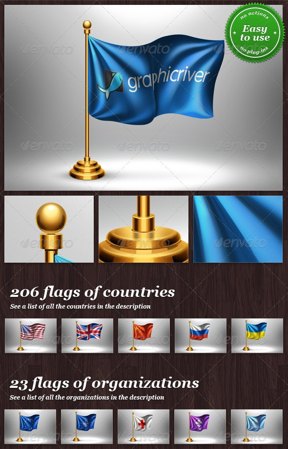 Table Flag with Logo or Country Mock-up - Miscellaneous Print