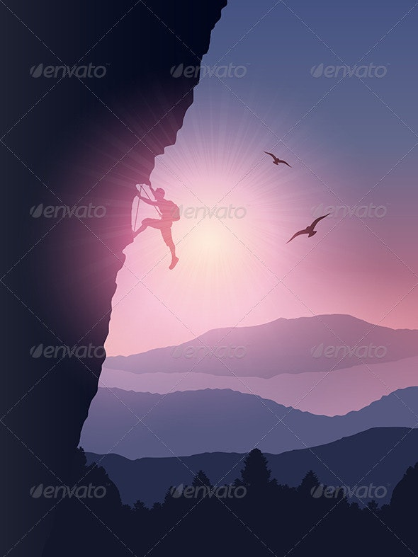 Rock Climber Background - People Characters