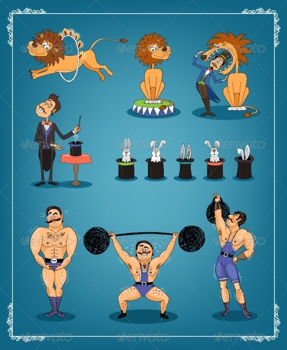 Magician Animal Trainer and Strongman - People Characters