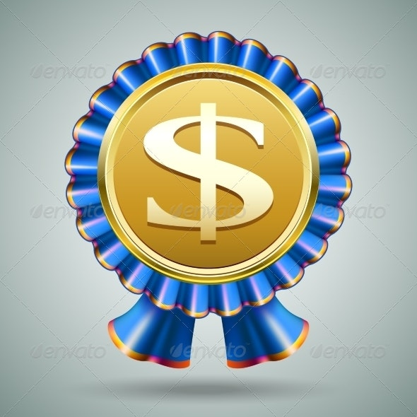 Dollar Sign in a Blue Ribbon Rosette - Miscellaneous Vectors