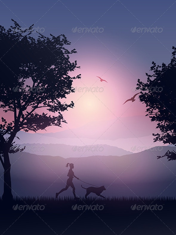 Female Jogging in the Countryside with her Dog - People Characters