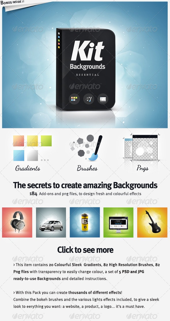 Background Kit Generator - Brushes Gradients and pngs - Abstract Backgrounds