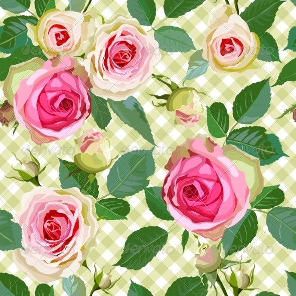 Checked Seamless Pattern with Roses.  - Flowers & Plants Nature