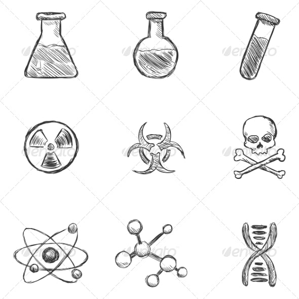 Set of  Sketch Chemistry Icons - Miscellaneous Vectors