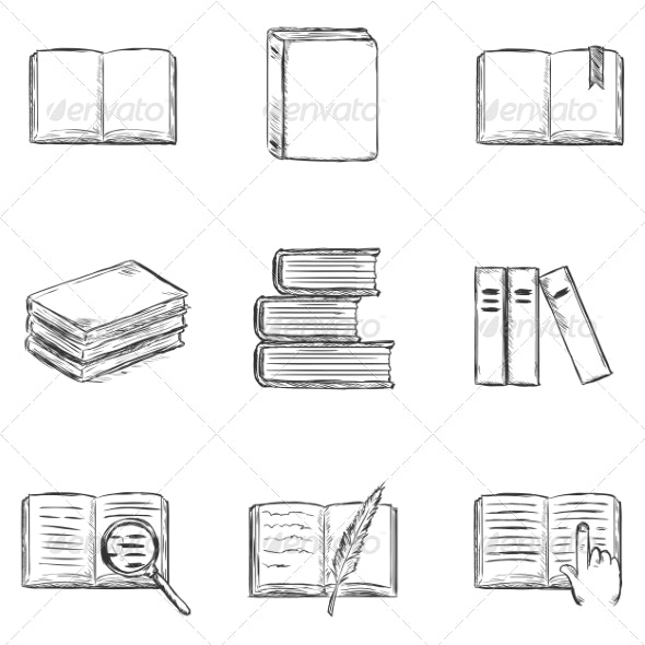 Set of  Sketch Books Icons - Miscellaneous Vectors