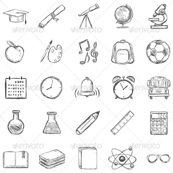 Set of 25 Sketch School Icons - Miscellaneous Vectors