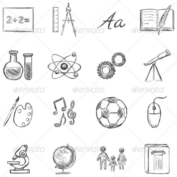 Set of  School Subjects Icons - Miscellaneous Vectors