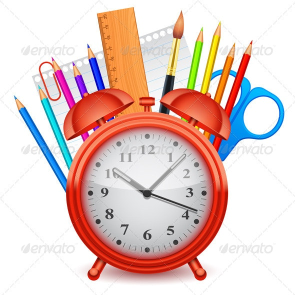Time for School Concept - Objects Vectors
