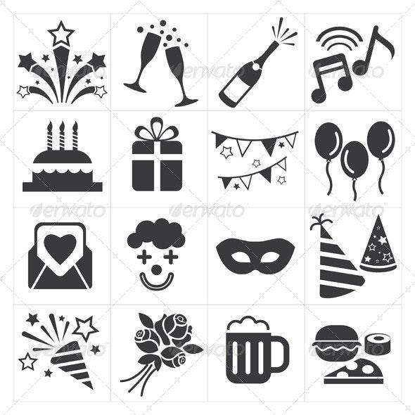 Party Celebration Icons - New Year Seasons/Holidays