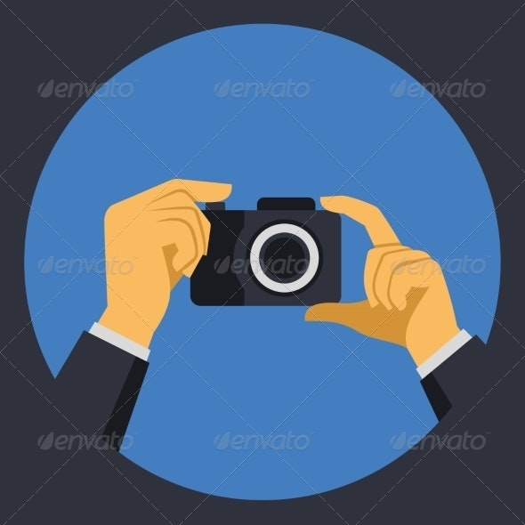 Digital Photo Camera with Hands in Flat Retro Style - Web Technology