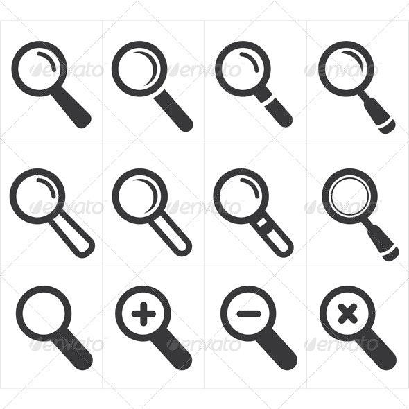 Icon Search and Magnifier  - Web Technology
