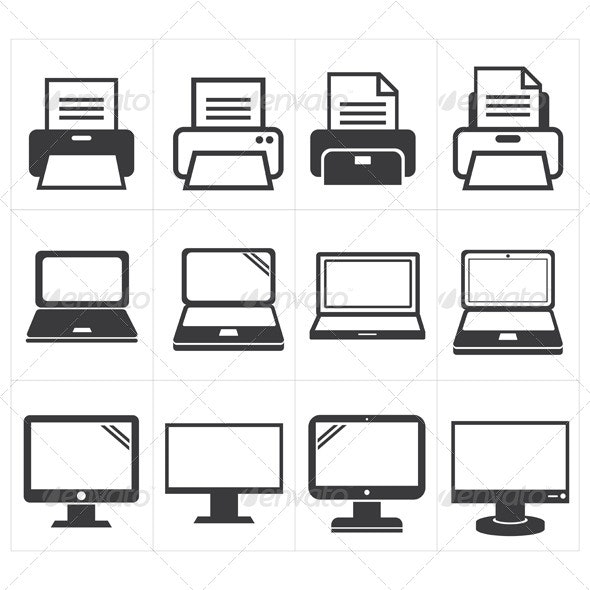 Office Equipment Icons - Man-made Objects Objects
