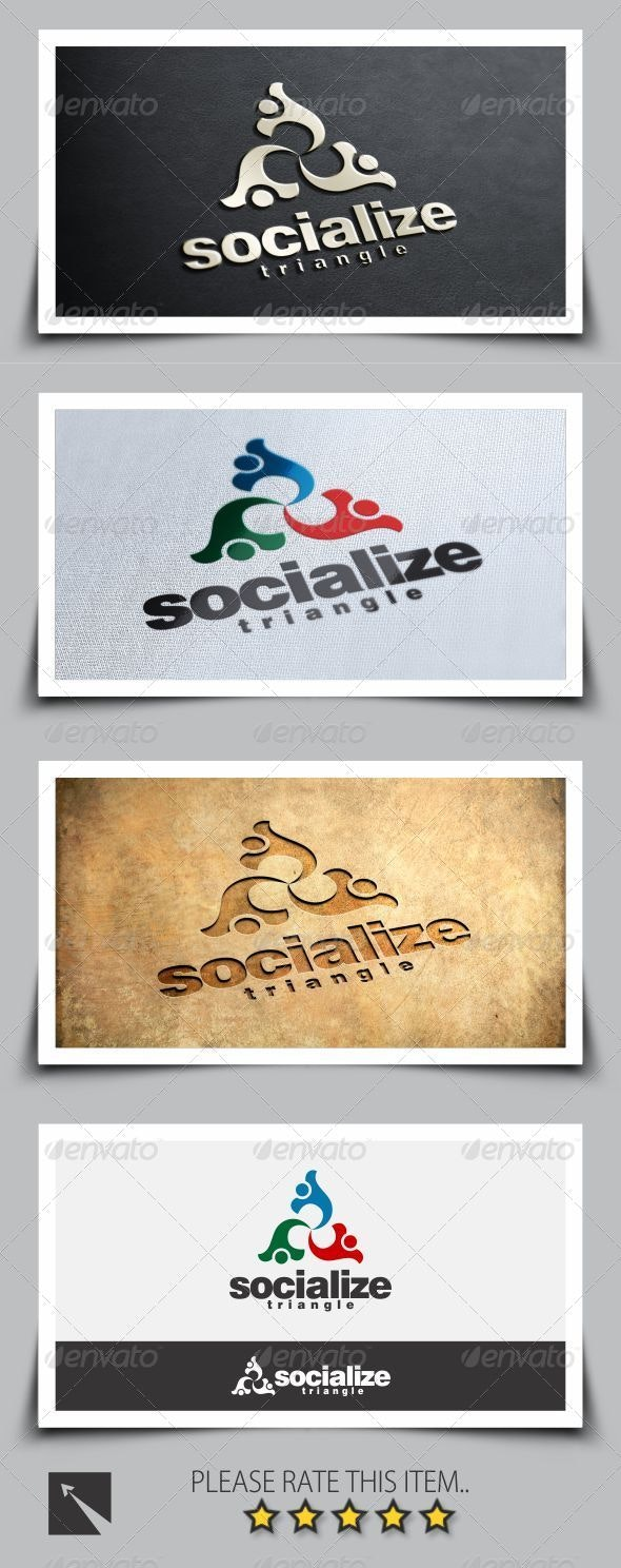 Socialize Triangle Logo Template - Humans Logo Templates