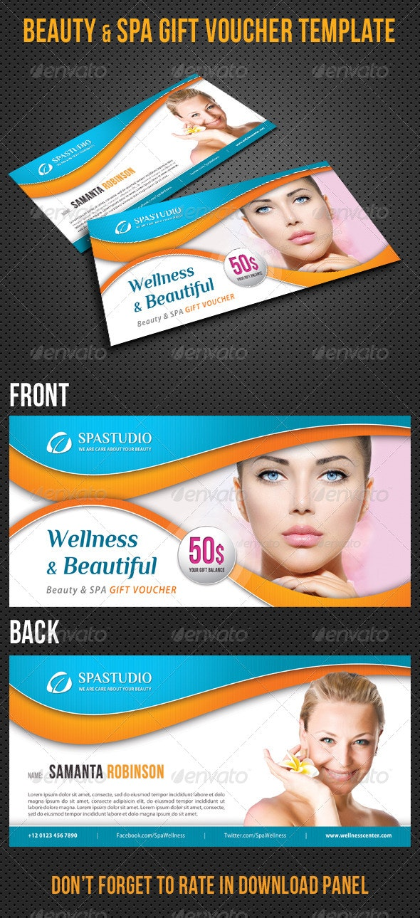 Beauty and Spa Gift Voucher V14 - Cards & Invites Print Templates
