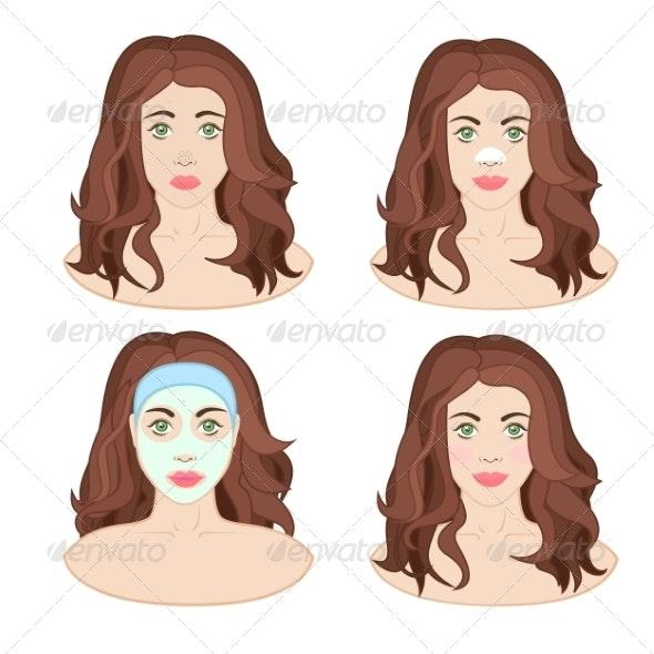 Woman Caring for Skin - Health/Medicine Conceptual