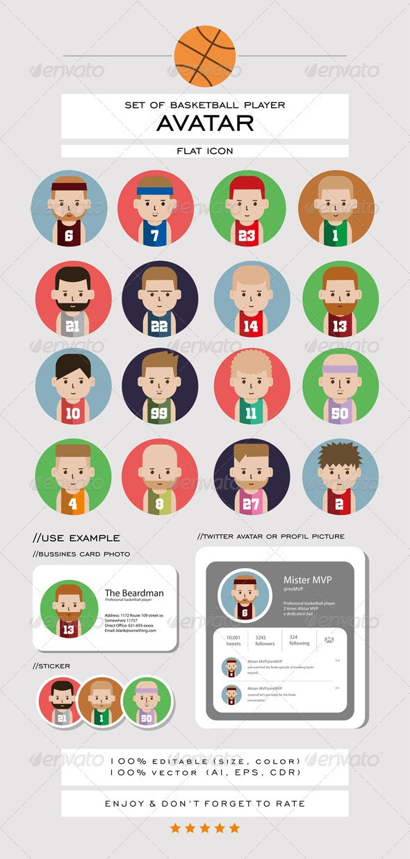 Set of Basketball Player Avatar Flat Icons - People Characters