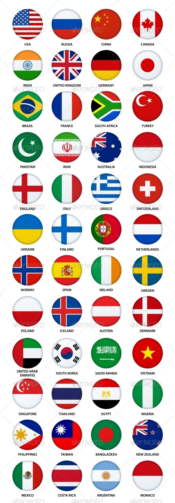 Set of Round Buttons with World Flags - Miscellaneous Vectors
