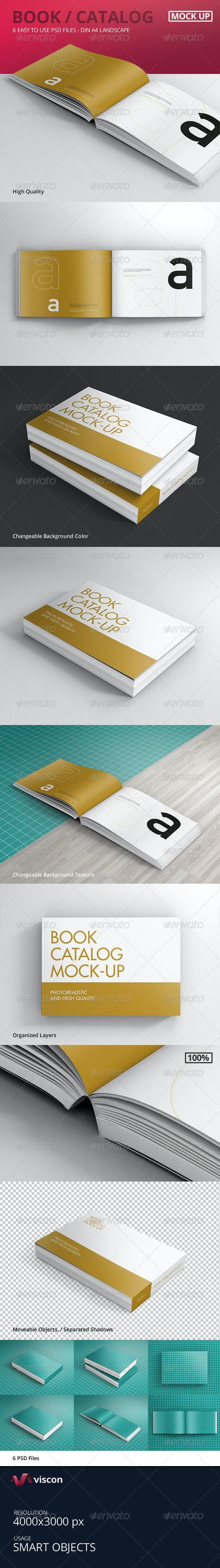 Book / Catalog Mock-Ups Landscape - Books Print