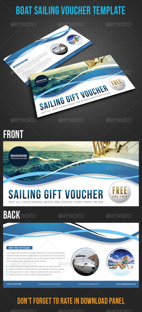 Boat Sailing Gift Voucher V15 - Cards & Invites Print Templates
