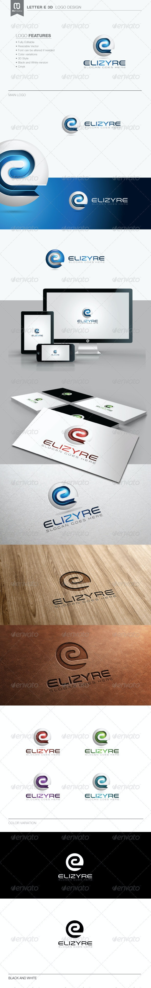 Letter E 3D Logo - 3d Abstract