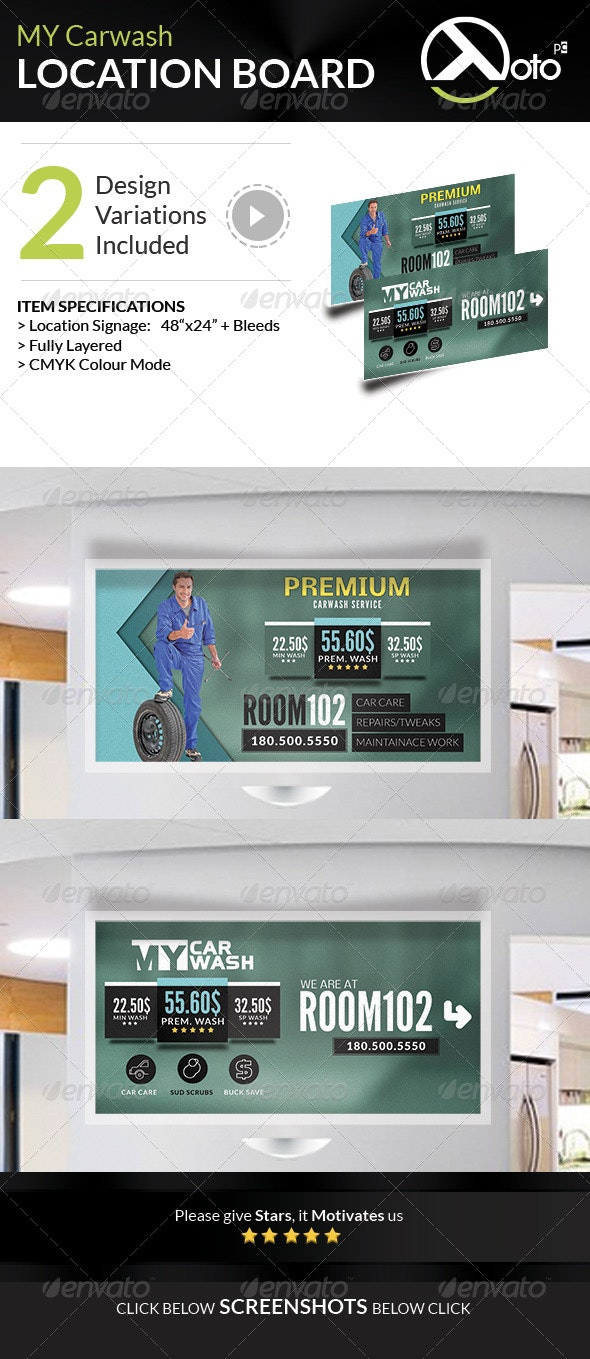MY Automobile Carwash Service Location Boards - Signage Print Templates