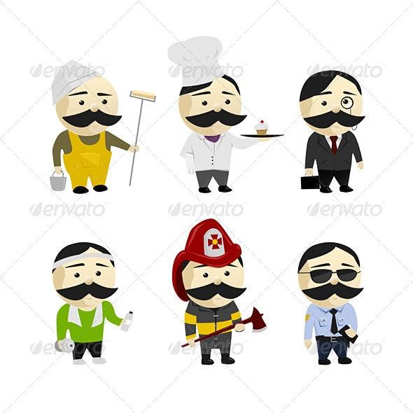 Moustache Men - Characters Illustrations