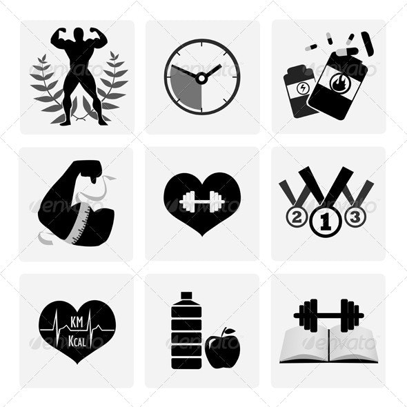 Black and White Body Building Icons - Miscellaneous Illustrations