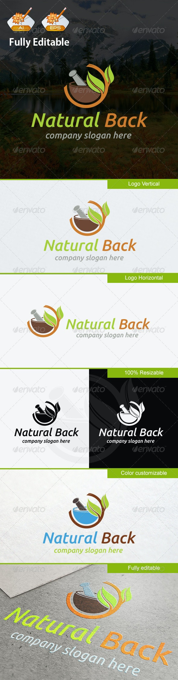 Natural Back - Objects Logo Templates