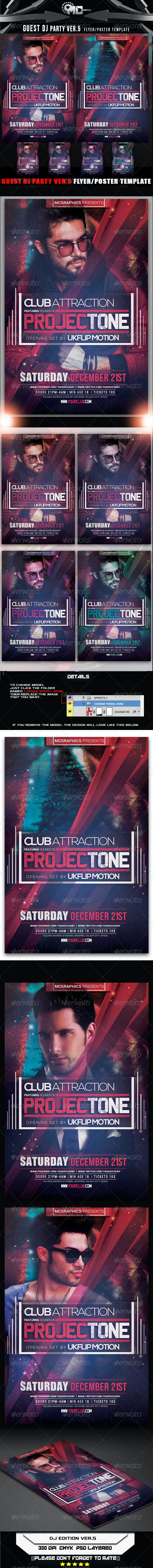 Guest DJ Party Ver.5 Flyer/Poster Template - Flyers Print Templates