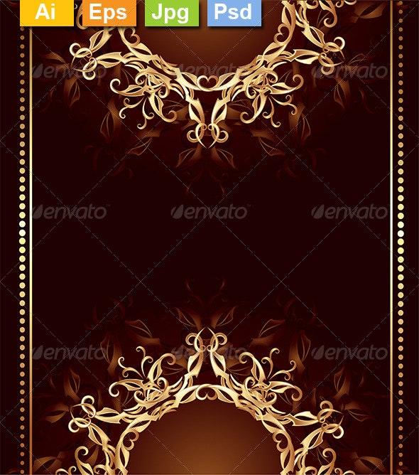 Jewelry Design on a Dark Brown Background - Decorative Vectors