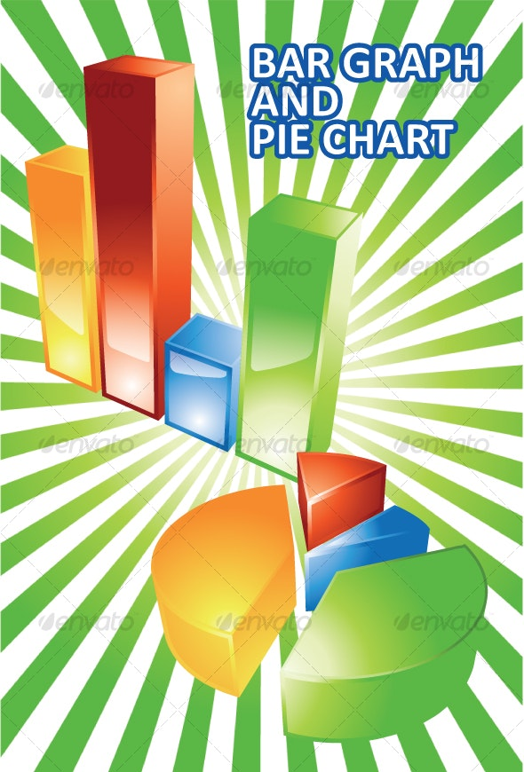 Glossy 3d Bar Graph and Pie Chart - Concepts Business