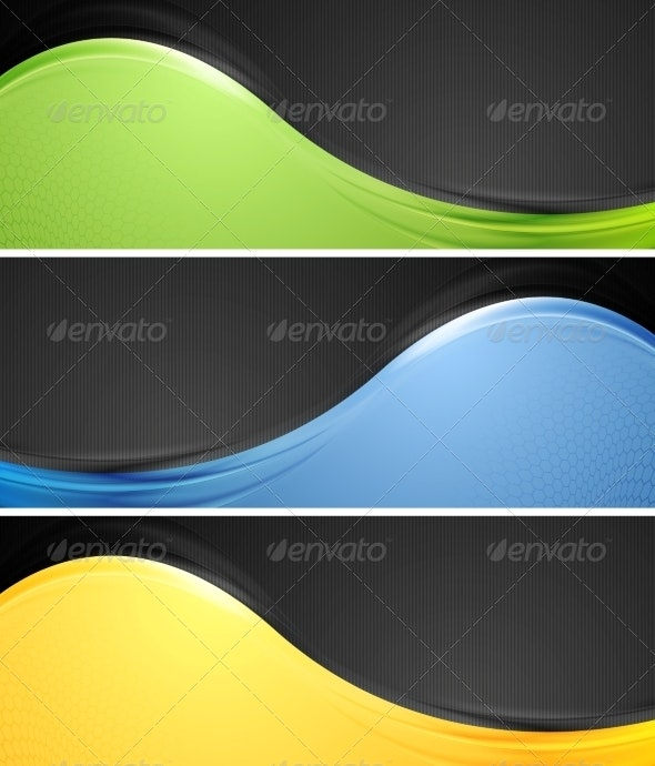 Abstract Wavy Vector Banners - Backgrounds Decorative