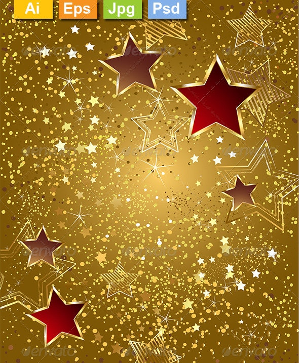 Gold Foil with Stars - Backgrounds Decorative
