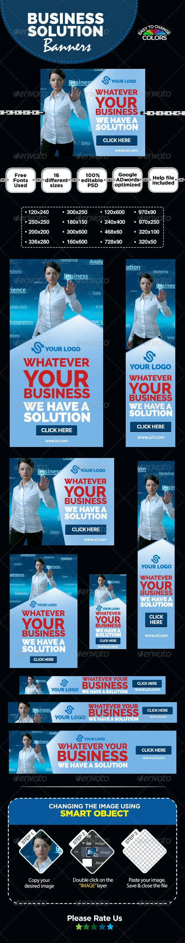 Business Solutions Banners - Banners & Ads Web Elements