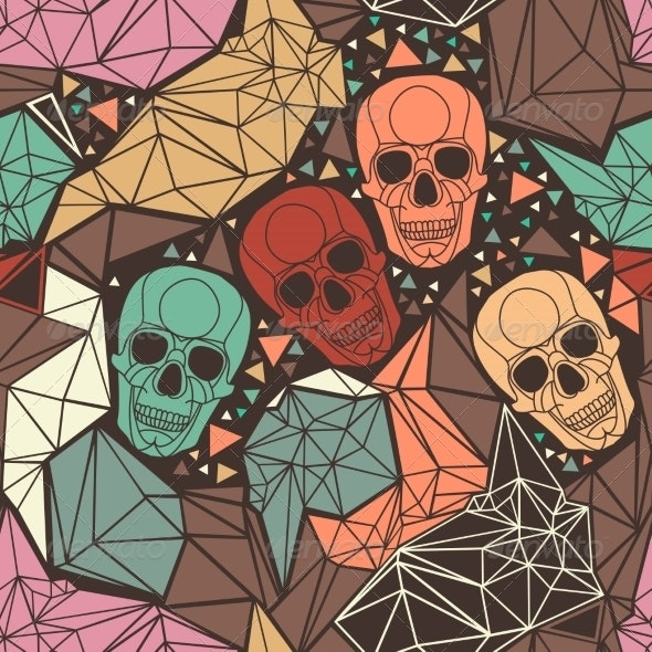 Skull  with Geometric Polygonal Ornament. - Patterns Decorative