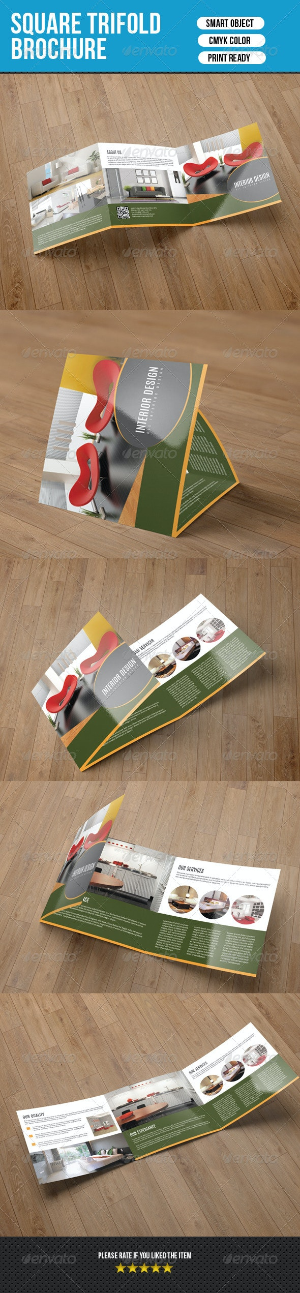 Square Trifold for Interior Desing-V16 - Corporate Brochures