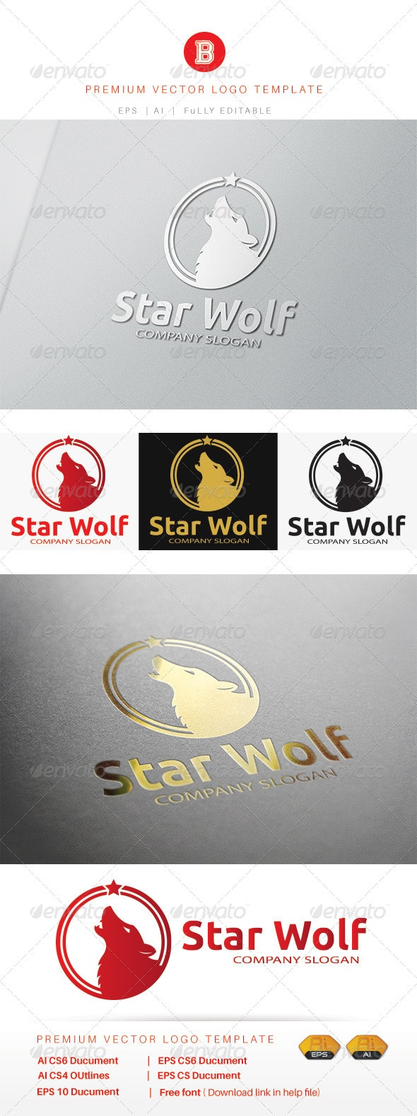 Star Wolf - Animals Logo Templates