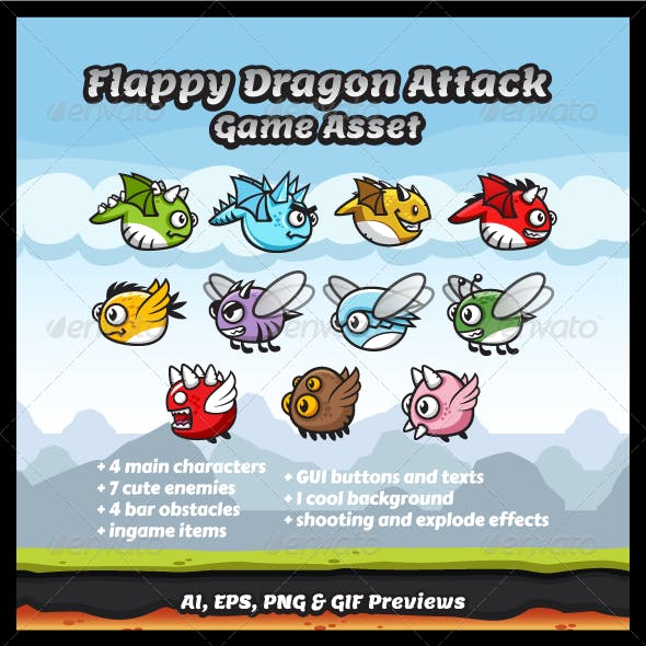 Game Asset - Flappy Dragons Attack Sprite Sheets