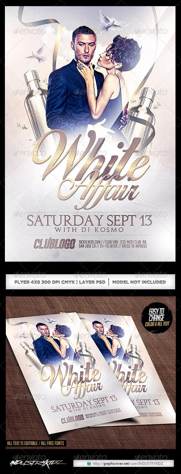 White Affair Party Flyer PSD - Clubs & Parties Events
