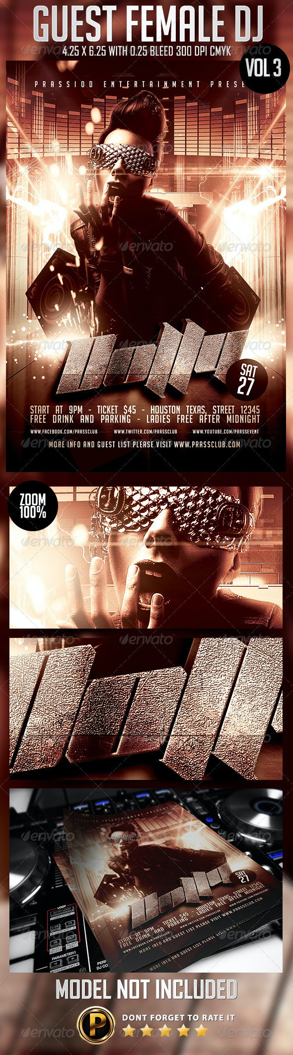 Guest Female DJ Flyer Template Vol 3 - Clubs & Parties Events