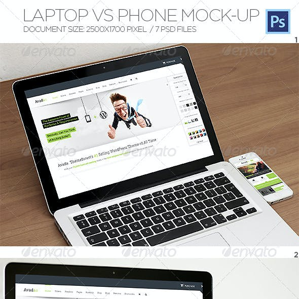 Laptop Vs Phone Mock-up