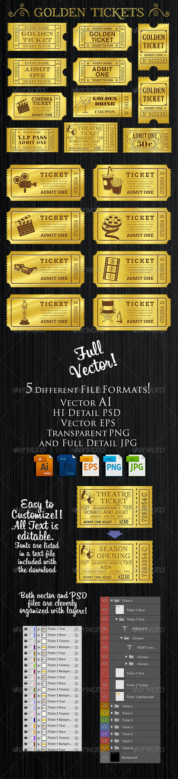 Golden Tickets Templates Set - Services Commercial / Shopping