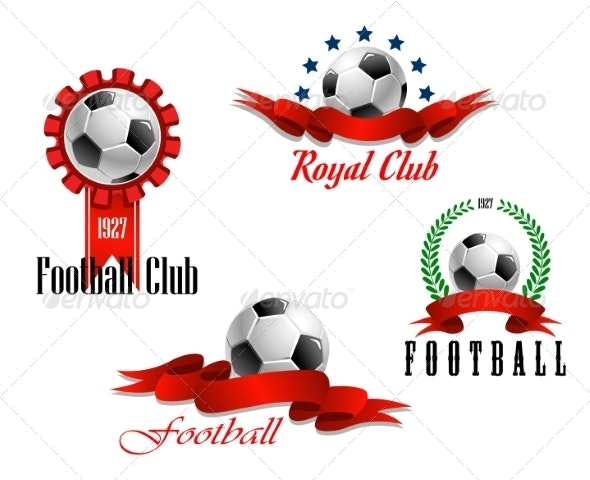 Four Football and Soccer Emblems - Sports/Activity Conceptual