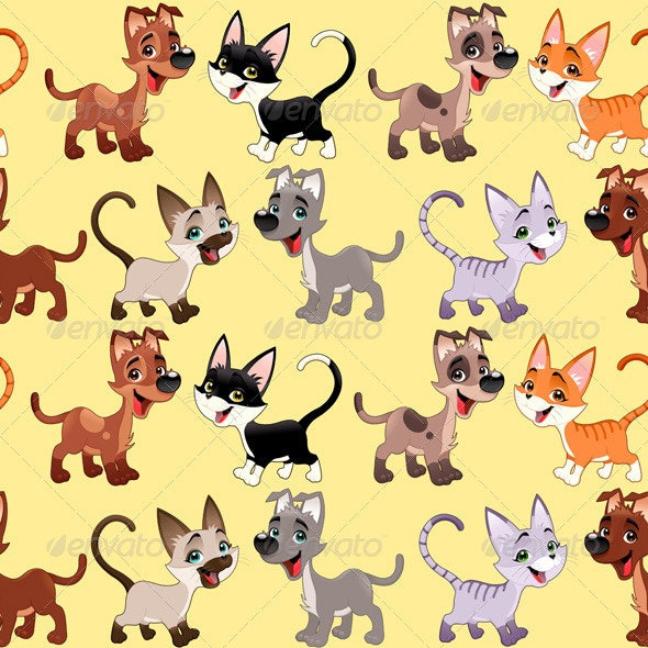 Cats and Dogs Background - Animals Characters