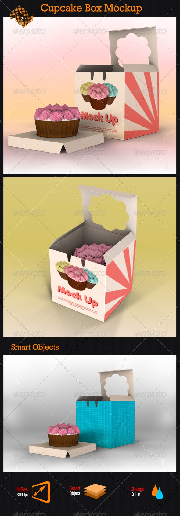 One Piece Cupcake Box Mockup - Food and Drink Packaging