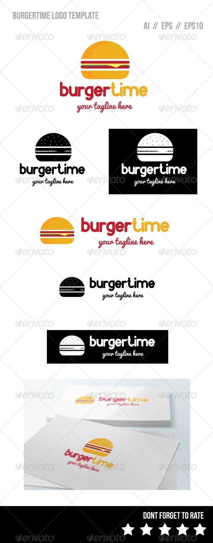 Burger Time Logo Template - Food Logo Templates