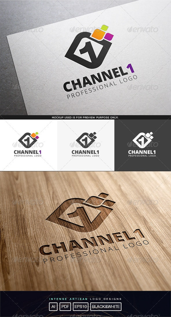 Channel 1 Logo Template - Numbers Logo Templates